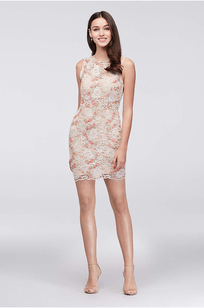 Illusion Lace Dress with Blush Floral Appliques - A fresh combo of graphic lace, bright-blooming floral
